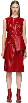 MSGM Red Vinyl Bow Dress