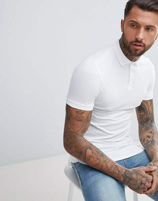 Asos Design Longline Muscle Polo With Bound Curved Hem In White