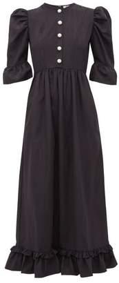 Batsheva Puff Sleeve Moire Dress - Womens - Black