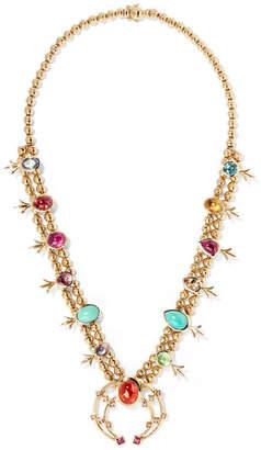 Marlo Laz - Squash Blossom 14-karat Gold Multi-stone Necklace