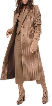 Michael Kors Large Herringbone Melton Crushed-Sleeve Coat