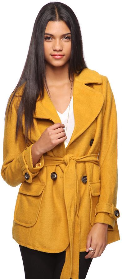FOREVER 21 Wool Blend Coat w/ Belt