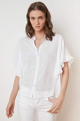 Velvet by Graham & Spencer DARBY RAYON CHALLIS RUFFLE BUTTON UP TOP