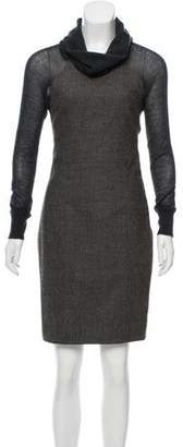 Lela Rose Wool Paneled Dress