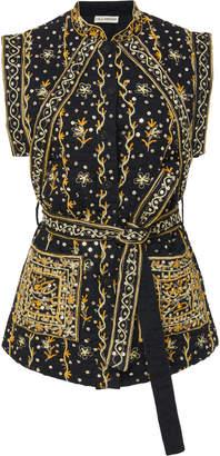 Ulla Johnson Indira Embroidered Linen-Cotton Blend Vest