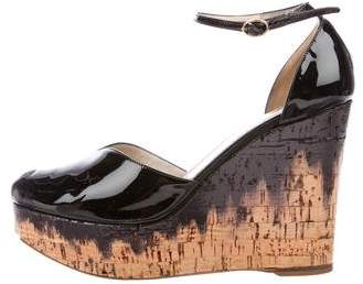 Yves Saint Laurent Patent Leather Peep-Toe Wedges