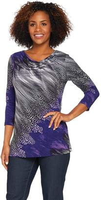 Susan Graver Printed Liquid Knit Drape Neck Tunic