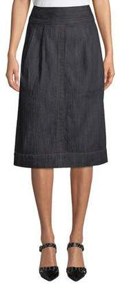 Marc Jacobs High-Waist A-Line Denim Knee-Length Skirt