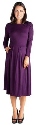24/7 Comfort Apparel Long Sleeve Fit and Flare Maternity Midi Dress
