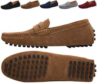 76f633ed1bf JIONS Men s Driving Penny Loafers Suede Driver Moccasins Slip On Flats  Casual Dress Boat Shoes