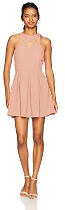 Speechless Crepe Dress with Cut Out Neck Details (Junior's)