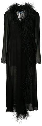 Prada feather trim robe