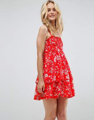 Asos Shirred Mini Sundress With Tiered Skirt In Red Ditsy Print