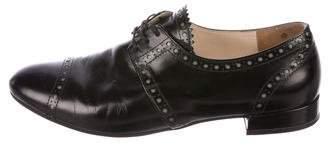 Prada Leather Round-Toe Oxfords