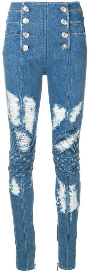 button-front skinny jeans