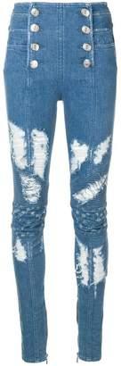 Balmain button-front skinny jeans