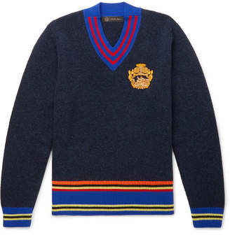 Versace Embroidered Striped Wool Sweater