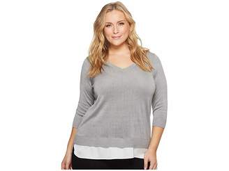 Calvin Klein Plus Plus Size Lurex Twofer Sweater Women's Sweater