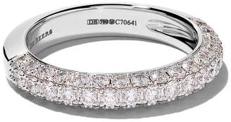 De Beers 18kt white gold DB Darling half pavé diamond large eternity band