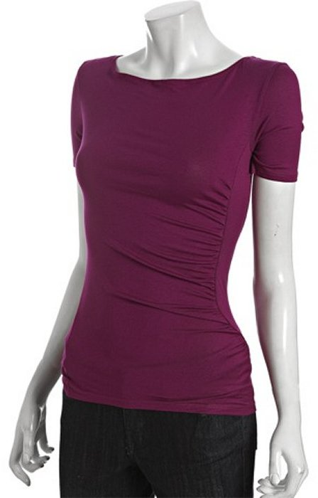Rebecca Beeson cognac jersey ruched front short sleeve t-shirt