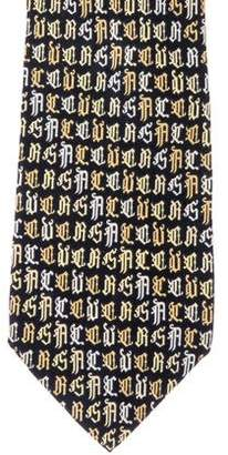 Versace Old English Print Silk Tie
