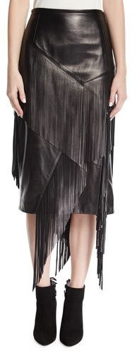 Michael Kors Collection Fringed Lamb Leather Pencil Skirt, Black