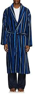 Derek Rose Men's Aston Striped Cotton Velour Robe - Navy