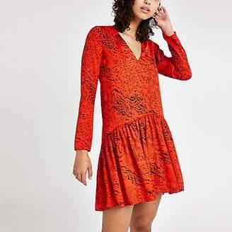 River Island Red animal print swing dress