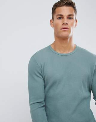 Celio garment dyed long sleeve top in waffle
