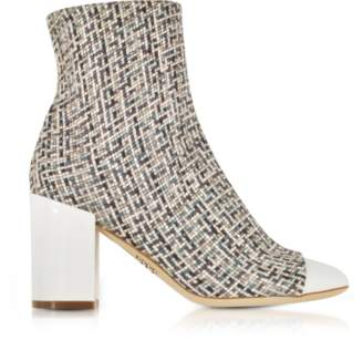 Rodo Tweed and White Patent Leather Heel Booties