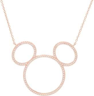 Disney Mickey's 90th Birthday Diamonique Silhouette Necklace, Sterl