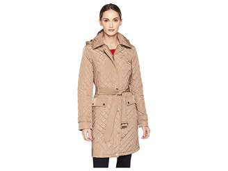 MICHAEL Michael Kors Snap Front Long Belted Quilt Coat M423752GZ Women's Coat