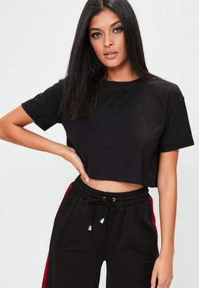 Missguided Petite Black Roll Sleeve Cropped Top