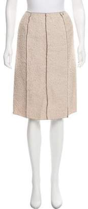 Chanel Tweed Knee-Length Skirt Beige Tweed Knee-Length Skirt