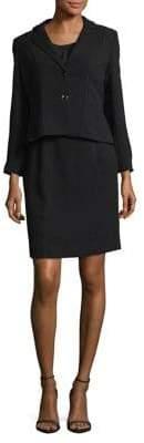 Tahari Arthur S. Levine Petite Peplum Crepe Jacket and Skirt Suit