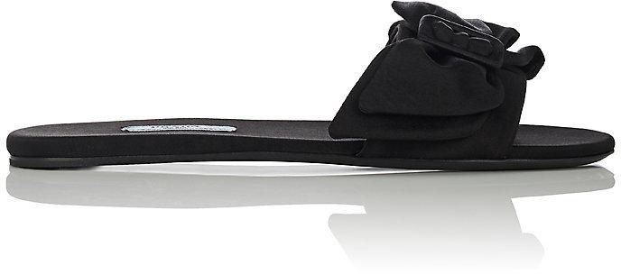 Prada Women's Bow-Embellished Satin Slide Sandals