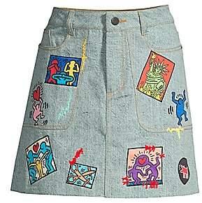 Alice + Olivia Women's Keith Haring X Coletta Patchwork Mini Skirt