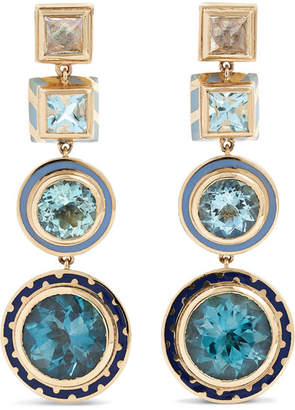 Alice Cicolini Candy 14-karat Gold And Enamel Multi-stone Earrings - one size