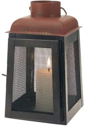 STONEBRIAR COLLECTION Stonebriar Collection Graphite and Rust Metal Lantern Candle Holder with Mesh Sides