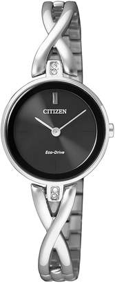 Citizen EX1420-84E Stainless Steel Eco-Drive Swarovski Watch in Silver