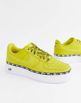 Nike Yellow Air Force 1 Swoosh Tape Sneakers
