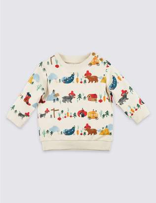 Marks and Spencer Cotton All Over Print Sweatshirt with Stretch
