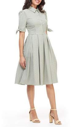 Gal Meets Glam Gingham Pleated Fit-&-Flare Midi Dress