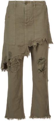 R 13 distressed jeans with skirt overlay