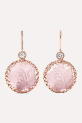 Larkspur & Hawk Olivia Button Small Rose Gold-dipped, Quartz And Diamond Earrings - one size