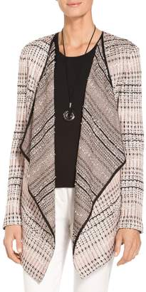 St. John Flagged Woven Stripe Cardigan