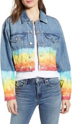 Blank NYC BLANKNYC Tie Dye Hem Crop Denim Jacket
