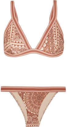 Zimmermann Primrose Printed Triangle Bikini - Tan
