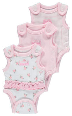 George 3 Pack Premature Baby Bodysuits