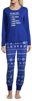 Co North Pole Trading Womens Pant Pajama Set 2-pc. Long Sleeve Family